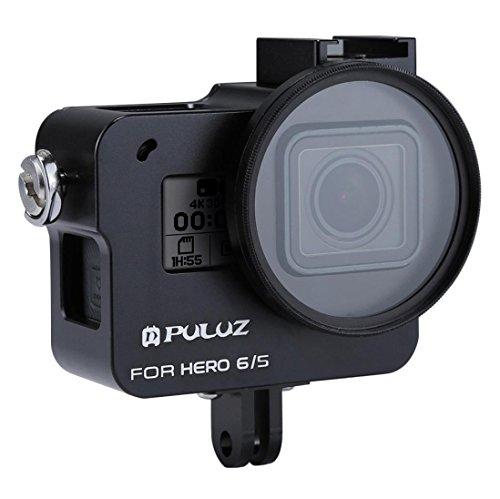Wokee Ersatz Wasserdicht Schutz PULUZ Für GoPro Hero 6/5 CNC Aluminiumlegierung Gehäuse Shell Fall Schutzkäfig Hülle Gehäuse Touch Gehäuse Schutz für Ihre (Schwarz) (Drohne Hubschrauber Für Go Pro)