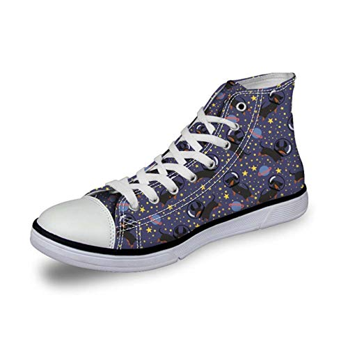 Women High Top Canvas Shoes Fashion Dachshund Sport Sneakers Flats Running Shoes Dachshund 3 UK 2\u002FEU35