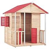Festnight- Kinderspielhaus Spielhaus Kinderhaus Kinder Spiel Haus Gartenhaus Holz Rot 132 x 134 x 155 cm