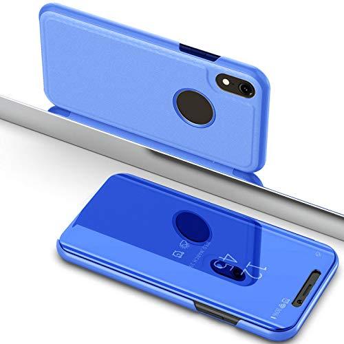 Numerva iPhone X Hülle, Schutzhülle [Mirror Clear View Case, Standfunktion] iPhone XS Handytasche [Blau]