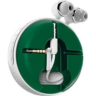 athos-c Cross, weiß-grün - der hochwertige, universelle Aufroller für Kopfhörerkabel in Fanfarben