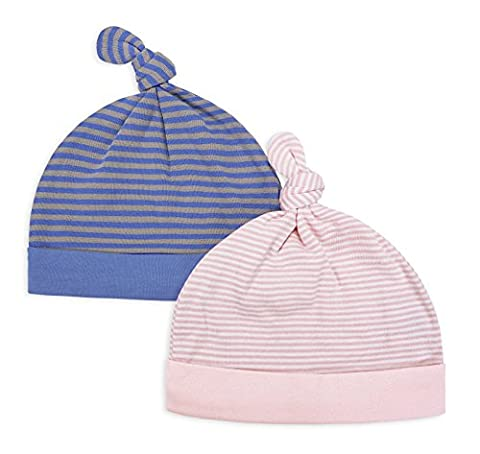 Adjustable Knot Stripe Beanies Hats, Keepersheep Newborn Baby Knot Hat Set, 100% Cotton Knitted Fabric (6-12 months, Pink and Blue)
