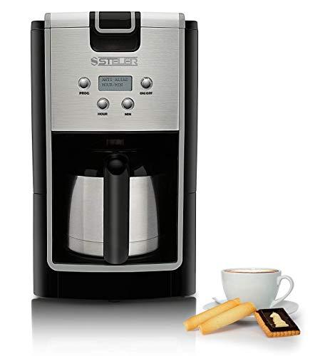 Edelstahl Kaffeemaschine mit Thermoskanne und Timer, 1 Liter Fassungsvolumen für bis zu 10 Tassen Kaffee, kompakte Bauweise, inklusive Dauerfilter