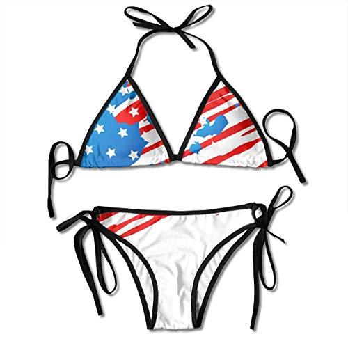 Amerikanische Flagge Design Frauen Sexy Bikini Set Badeanzug Badeanzug Dreieck Bademode Zweiteilige Anzüge