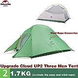 Naturehike Tienda de campaña Mejorar Cloud Up 2 Persona Tienda de Trekking Ultraligero Impermeable ... (210T Verde)