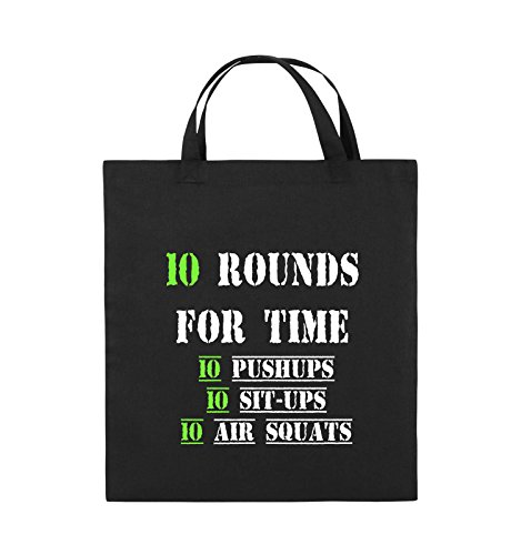 Comedy Bags - 10 Rounds for time 10 pushups 10 sit ups 10 air squats - Jutebeutel - kurze Henkel - 38x42cm - Farbe: Schwarz / Weiss-Neongrün Schwarz / Weiss-Neongrün