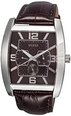 Reloj de caballero Guess Power Broker Dress Steel 80009G2 de cuarzo, correa de piel color marrón de Guess
