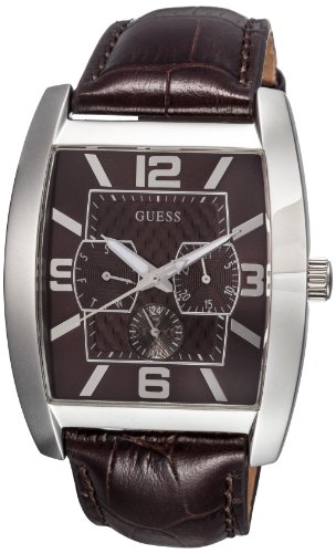 Guess - W80009G2 - Mens Fashion - Montre Homme - Quartz Analogique - Cadran Marron - Bracelet Cuir Marron