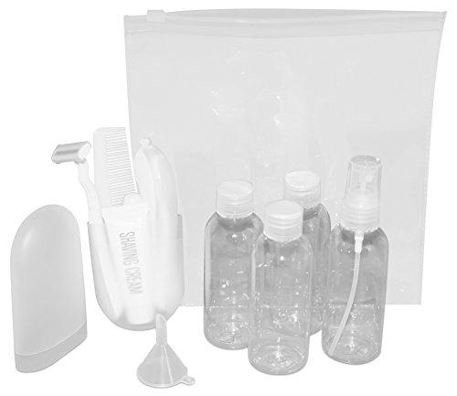 REISESET handlich und hygienisch, 3 Flaschen + Sprühflasche + Zahnbürste + Zahncreme + Kamm + Rasierer + Rasiercreme + BEUTEL - Herren Reiseutensilien Accessoires