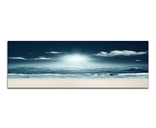 Panorama su Tela e telaio 120x 40cm Mare Spiaggia onde notte luce (Mare Su Tela)