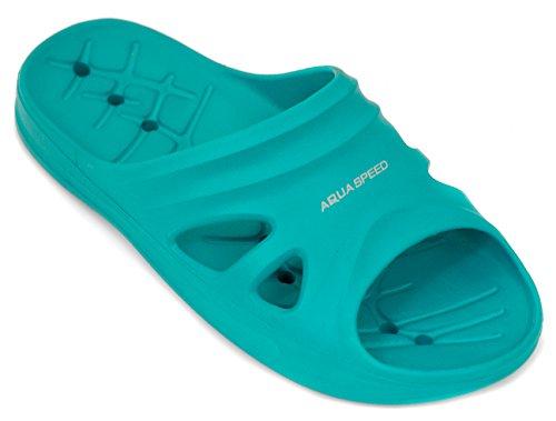 AQUA-SPEED - Badelatschen Für Erwachsene Und Kinder -Schwimmbadschuhe - Anti-Rutsch-Sohle - Sehr Leicht - #AS Florida Türkis