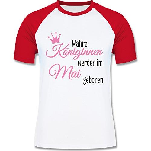 Geburtstag - Wahre Königinnen werden im Mai geboren - zweifarbiges Baseballshirt für Männer Weiß/Rot