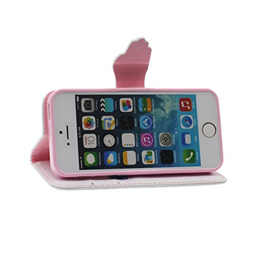 Apple iPhone SE 5 Coque de Protection, Rabat Portefeuille Souple PU Beau Imprimé Motif Style Carte Titulaire Housse de Protection Case pour iPhone 5 5S 5G - Noir color-7