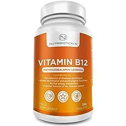 Vitamin B12 Methylcobalamin 1000mcg 180 Tabletten (Versorgung für 6 Monate) von Nutribioticals