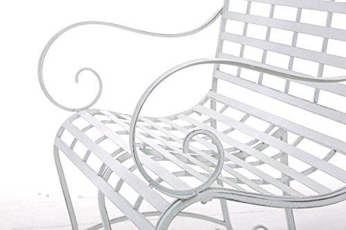 CLP Gartenbank ROY im Landhausstil, aus lackiertem Eisen, 129 x 69 cm – aus bis zu 6 Farben wählen Antik Weiß - 7