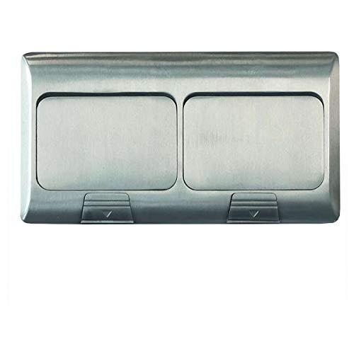 ledmaxx Alu2 x 2s A, prise de sol de prise 4 prises de 2 + 2 inox pour sol et mur, 2000 W, Argent, 22 x 12 x 5,7 cm