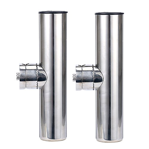 Amarine-made 2pcs Stainless Clamp on Fishing Rod Holder for Rails 7/8 to 1 (Clamp-angelrute-halter)