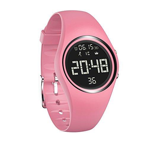 Armbanduhr und Fitness-Armband, wasserdicht IP68, zum genauen Verfolgen von Schritten, Entfernungen und Kalorien, mit Timer-Funktion, zum Laufen, Rennen für Damen und Herren (ohne Bluetooth) (Rose)