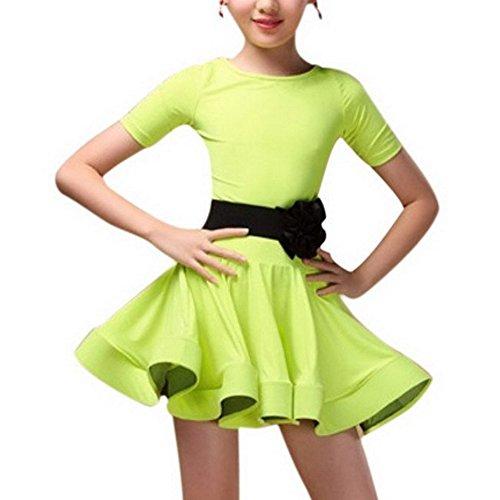OCHENTA Mädchen Kinder Kleid Latin Salsa Rumba Kurze Ärmel Grün Asiatisch 110cm-( DE 104cm ) (Rumba Kurze)