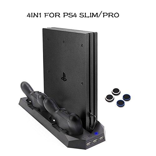 Soporte PS4 Slim / PS4 Pro Cargador de pie vertical con ventiladores Estación de carga de controladores duales, HUB USB para Sony PlayStation 4 Cargador de consola Slim / Pro Dualshock4 bedee Actualizado (No para PS4 regular)