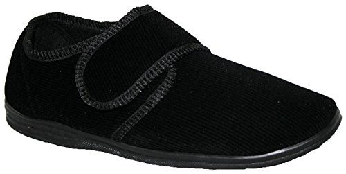 DIABETIKER Orthopädische Easy Close Wide Passende Touch Close Bar Gurt Schuh Herren Slipper, - Black Plain - Größe: 47 / 12 UK