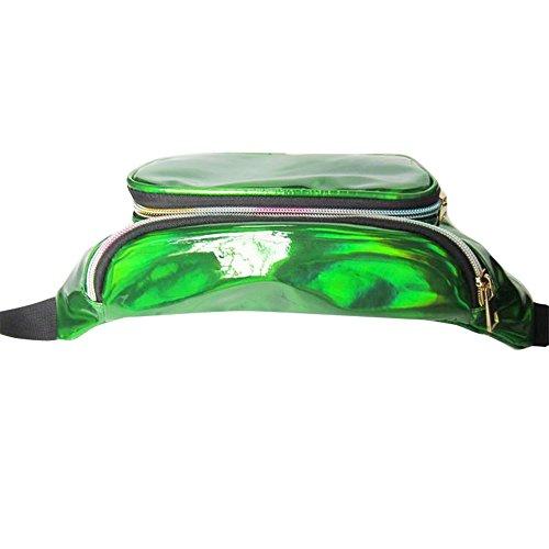 Vertvie Hüfttasche Gürteltasche Laser Multifunktionen Praktische Bauchtasche Geldbeutel Handytasche mit Reissverschluss für Sport und Outdoor Aktivitäten (Fuchsie) Grün