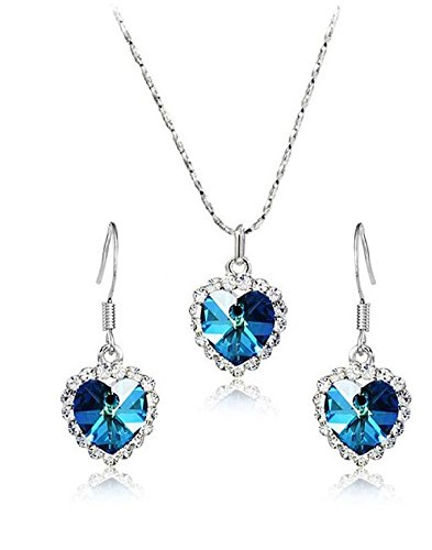 Karatcart Trendy Platinum Plated Blue Heart Shaped Crystal Pendant Set For Women