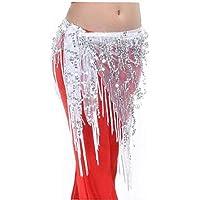 Danza del Ventre Sciarpe Dell'Anca Sciarpe Moda con Monete d'Argento di Ballo di Pancia Costume Cintura Chiffon Ciondolanti Danza del Ventre Paillettes Sciarpa Dell'Anca di Colore Bianco