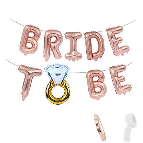 Hochzeitsdeko Ballons Rose Gold für Braut inkl Aufblasbar Helium Bride to BE Rosa Folienballons Banner und Gold Diamant Ring Luftballon für Brautdusche Bachelorette Hochzeit Party Dekoration - Ring-sätze Diamant-hochzeit Gold