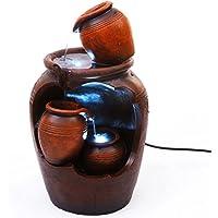 Creative Touch Fountain Edition Fuente de Agua Interior de macetas en Cascada Estilo Terracotta con 2 Luces LED | Tamaño 22 * 21.5 * 38.5 Cm | Incluye 2 Clavijas EU Plug |