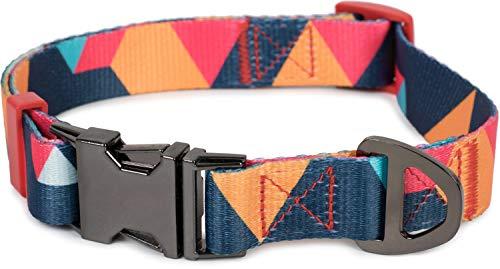 Puccybell Nylon Hundehalsband in geometrischem Design, klassisches Halsband für kleine, mittelgroße und große Hunde HB006 (M, Orange Bunt)