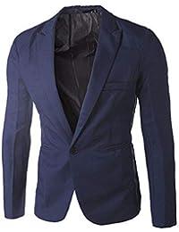 f4e46ef392f0 Lucky mall Herren Casual Slim Fit Mantel Jacke, Männer Charme Mode One  Button Suit Blazer