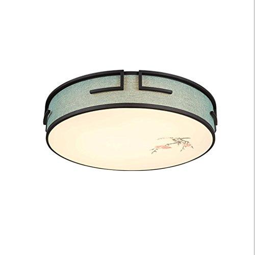 HUANGDA Stilvolle Persönlichkeit Dimming Deckenleuchte Schlafzimmer Lampe LED Tricolor Round Room Linen Einfache blaue Licht