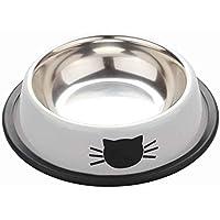 Zerama Cachorro Gatito de Acero Inoxidable Comedero de Cat Dish Tazón Antideslizante para Gatos pequeños Perros