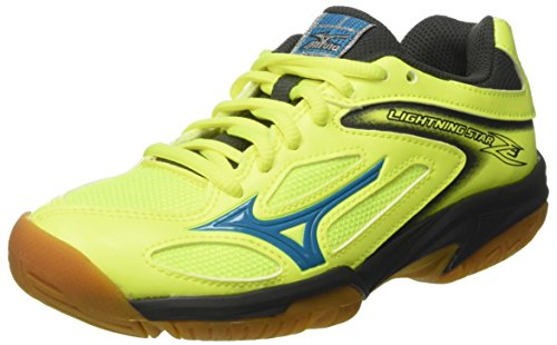 Mizuno Unisex-Kinder Lightning Star Z3 JNR Sportschuhe, Mehrfarbig (SafetyYellowAtomicBlue/DarkShadow 46), 36 EU