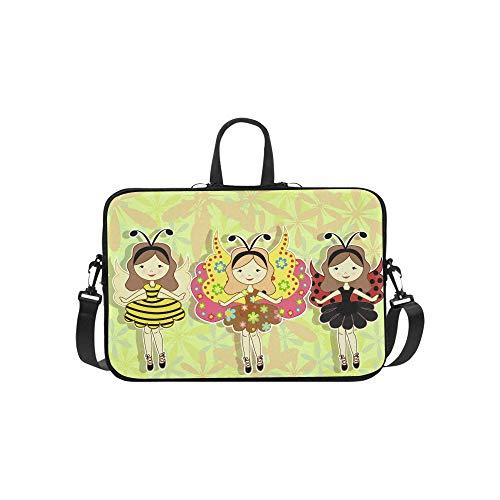 Niedliche Cartoon-Mädchen mit Einem Marienkäfer-Muster Aktentasche Laptoptasche Messenger Schulter Arbeitstasche Crossbody Handtasche für Geschäftsreisen (Niedliche Marienkäfer Kostüme)