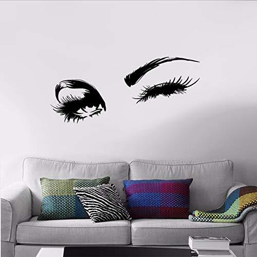 Waofe Sexy Sticker Beau De Charme Yeux Lashes Wink Décor Art Mural Décalque De Vinyle Autocollants Design Intérieur Chambre Autocollant 58 * 15 Cm