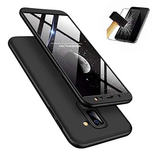 Laixin 3 in 1 Handyhülle für Samsung Galaxy J6 2018 Hülle + Panzerglas, Ultra Dünn PC Plastik Anti-Kratzen Schutzhülle Schutz Case Cover mit Displayschutzfolie, Schwarz