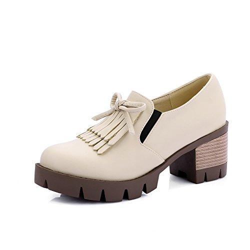 Senhoras Allhqfashion Pu Couro Salto Médio Rodada Toe Rendas Bombas Puramente Creme Sapatos