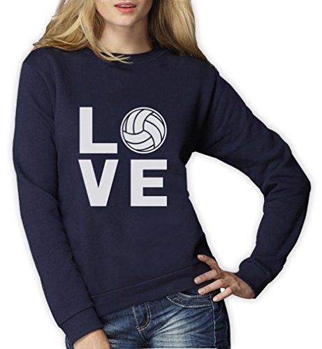 Love Volleyball - Sportlicher Geschenk Pullover für Freunde Frauen Sweatshirt Medium Marineblau