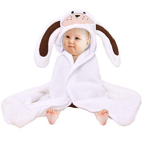 """Baby mit Kapuze Handtuch Flanell Waschlappen Baddecke, Premium saugfähigen weichen Kleinkind niedlichen Tier Kapuzen Badetuch Baby Dusche Geschenk / 31\""""X 31\""""(White)"""