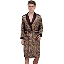 Waymoda Men's Luxury Silky Satin Evening Dressing Gown, Male Classic Elegant Paisley Pattern Kimono Wrap (Polka Peluche)