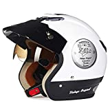 Helmet Geyao Electric Motorcycle Men And Women Half-covered Double Lens Four Seasons Anti-UV Battery Car (Color : White, Size : M)
