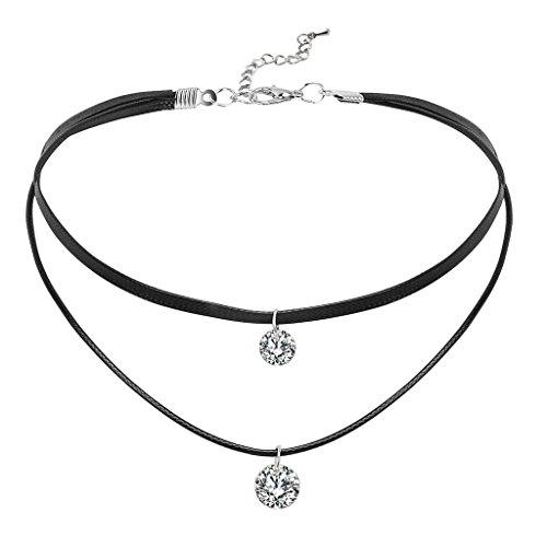 Epinki-Damen-Choker-Doppelt-Halskette-Schlangenhaut-Muster-Leder-Zwei-Sichten-Form-Rock-Hoker-Gothic-Halsband-Kropfband-Schwarz-Silber-34565CM-mit-Zirkonia