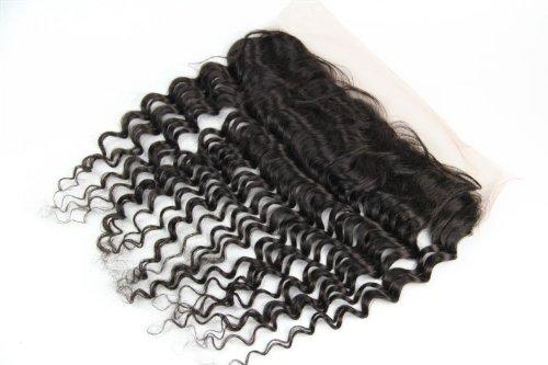 30,5 cm Deep Wave brésiliens vierges Cheveux Dentelle Fermeture Fermeture/sur le dessus (33 x 10,2 cm) Couleur naturelle Densité de 120%