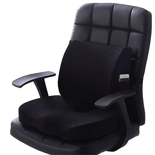 JFJL Sitzkissen Steißbein Orthopädie Memory Foam und Lordosenstützkissen,Steißbein Orthopädisches Comfort Foam Sitzkissen für Lendenwirbelsäule, Tailbone und Ischias-Schmerzlinderung, 2er Set,Black -