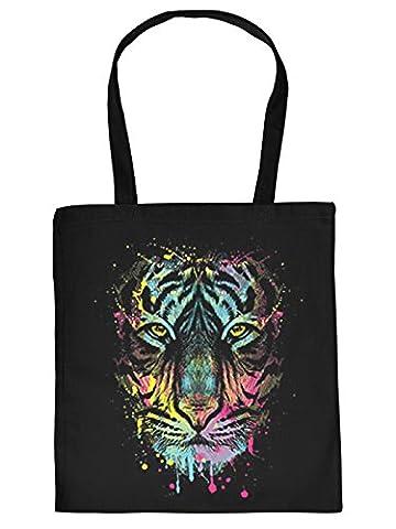 Tiger Motiv Tasche - Neon Tigermotiv Baumwolltasche: Dripping Tiger -- Stofftasche Tiger Kunstdruck Farbe: Schwarz