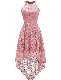 0ed80ac596f2 Taigood Abito Longuette da Donna in Pizzo Floreale Vintage Senza Maniche con  Collo Alto Irregolare Vestito