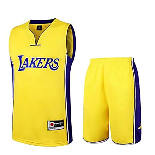 (WYUTIAO Lakers Kobe Bryant Jersey - Klassisches ärmelloses Set, Los Angeles, NBA-Trikot, Basketball für Herren und Unisex-Korbanzug T-Shirt-Yellow-L)
