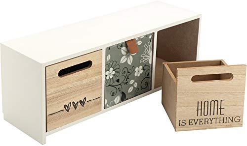 Com-four® comò mini a 3 cassetti - piccolo armadio shabby in legno stile vintage con frontali fioriti (01 pezzi - 12,5x32,5x10 cm)